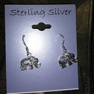 Sterling silver elephant drop earrings